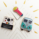 Flair Pins :: Retro Camera, Microphone and VW Bus