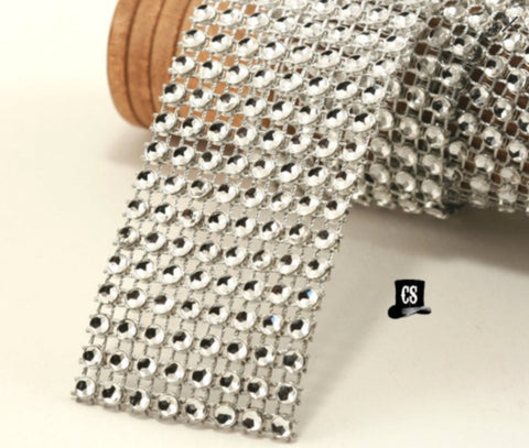 "Clear Diamond Mesh Ribbon 8 Row 1.5"" Wide - 1 or 3 Yards"