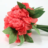 Coral Peony Silk Flower Bouquet