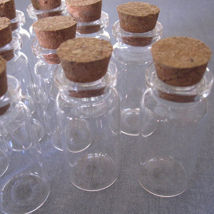 Mini Glass Jars with Corks - Set of 12 for jewelry design, shrines, message in a bottle