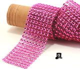 "Hot Pink Diamond Mesh Ribbon 8 Row 1.5"" Wide 1 or 3 Yards"