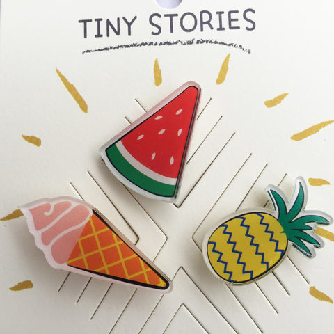 Flair Pins :: Ice Cream, Watermelon, Pineapple