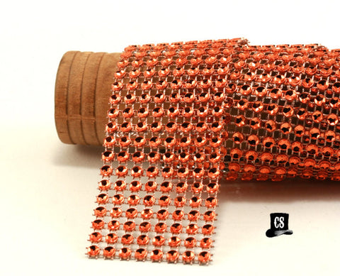 "Orange Diamond Mesh Ribbon 8 Row 1.5"" Wide - 3 Yards"