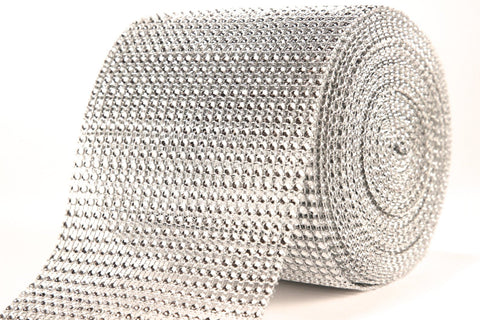 Diamond Mesh - 1 Yard - 4.5 Inch Wide - 24 Row - Ribbon Rhinestone Crystal Illusion Jewel