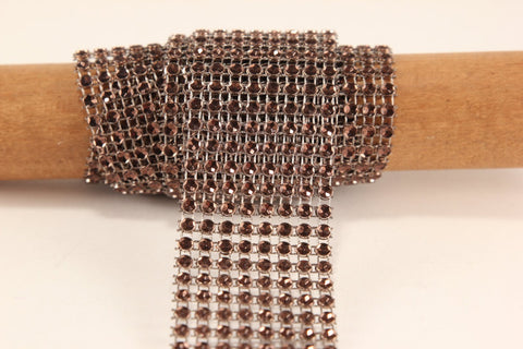 "Brown Diamond Mesh Ribbon 8 Row 1.5"" Wide - 3 Yards"