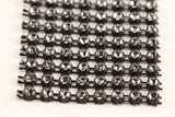"Black and Crystal Diamond Mesh Ribbon 8 Row 1.5"" Wide - 1 Yard"
