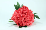 Coral Peony Silk Flower Bouquet Wedding Tossing or Display