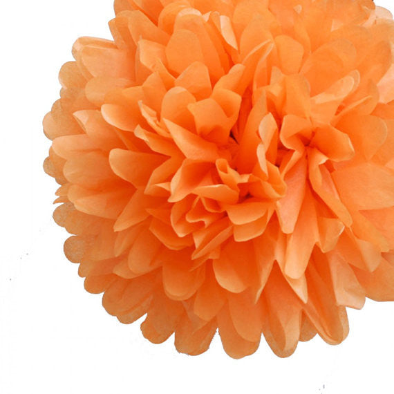 Orange Tissue Paper Pom Poms - set of 3