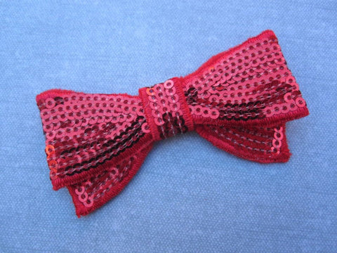 Red Sequin Bow Applique Patch