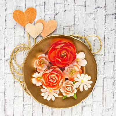 Coral Paper Flowers and Heart Pics 11 pcs