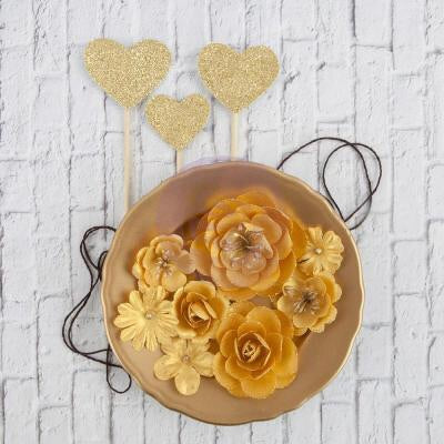 Gold paper flowers and glittered heart pics 11 pcs glittered hippie gold paper flowers and glittered heart pics 11 pcs voltagebd Choice Image