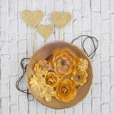 Gold Paper Flowers and Glittered Heart Pics. 11 pcs