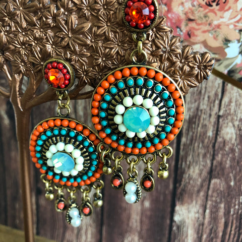 Orange Turquoise Dangle Statement Earrings