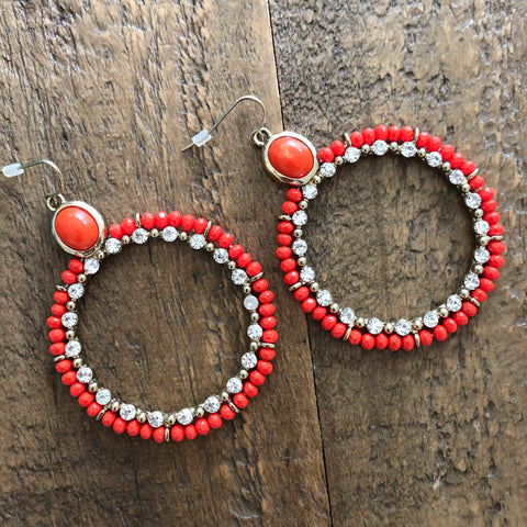 Orange and rhinestone Hoop Earrings