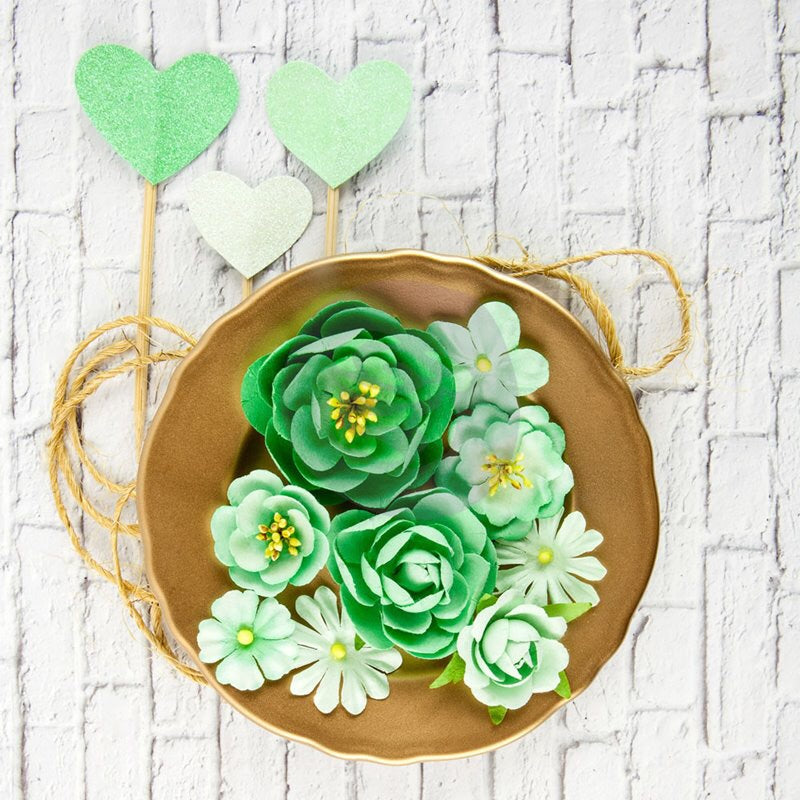 Mint Paper Flower and Glittered Heart Pics 11 pcs