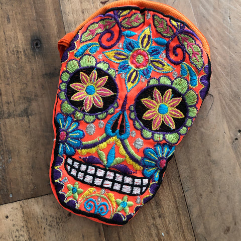 Orange Skull Dia de los Muertos Embroidered Coin Purse Day of the Dead