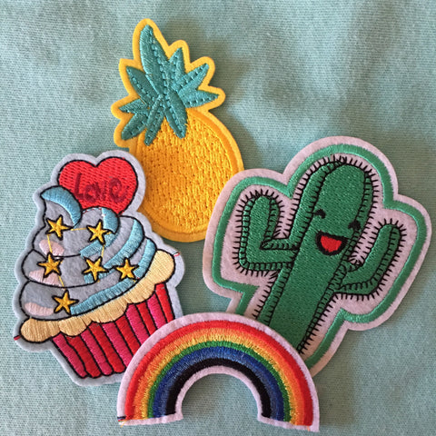 Summer Fun Patch Set 4 pieces Cactus Pineapple Rainbow Cupcake