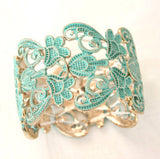Lace Filigree Bracelet ~ Aqua and Gold