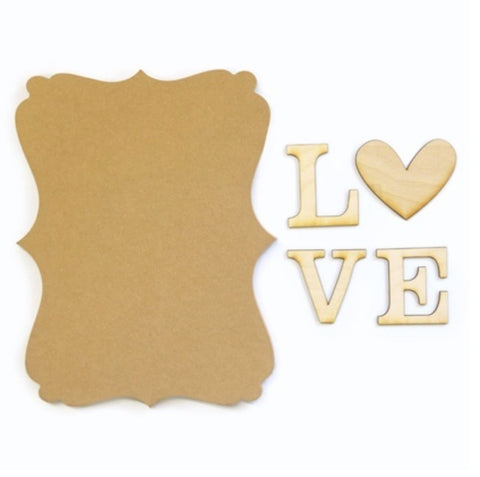 Love Wood Plaque Kit for Painting Decoupage