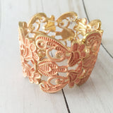 Lace Filigree Bracelet ~ Peach and Gold