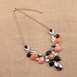 Rhinestone Necklace ~ Pink, Black and Coral