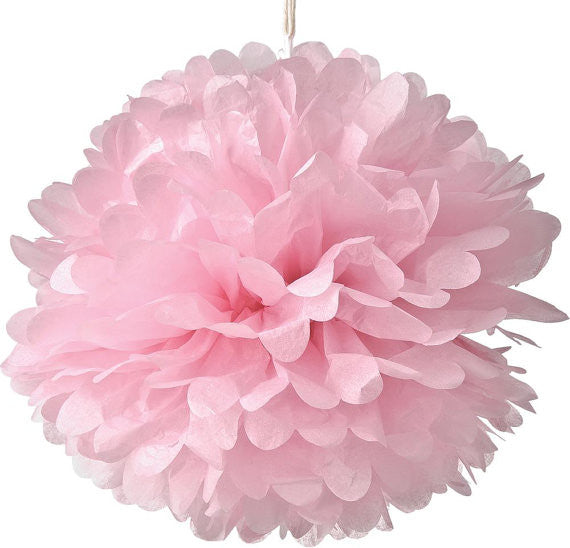 Pink Tissue Paper Pom Poms - set of 3