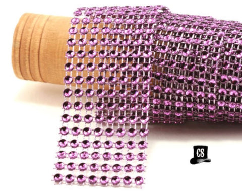 "Purple Diamond Mesh Ribbon 8 Row 1.5"" Wide - 1 Yard"