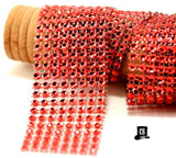 "Red Diamond Mesh Ribbon 8 Row 1.5"" Wide - 1 Yard"