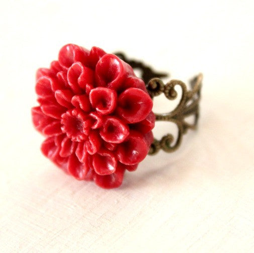 Dahlia Flower Ring ~ Red and Antique Gold