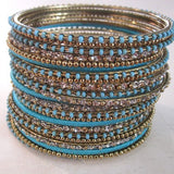 Gypsy Stacking Bracelets ~ Turquoise and Gold