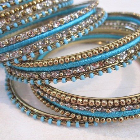 Turquoise and Gold Stacking Bangle Bracelets - Set of 23