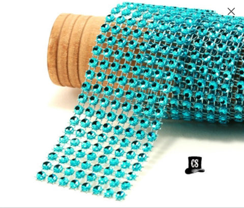 "Turquoise Diamond Mesh Ribbon 8 Row 1.5"" Wide - 1 Yard"