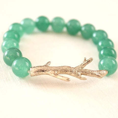 Branch Bracelet ~ Emerald Green and Gold