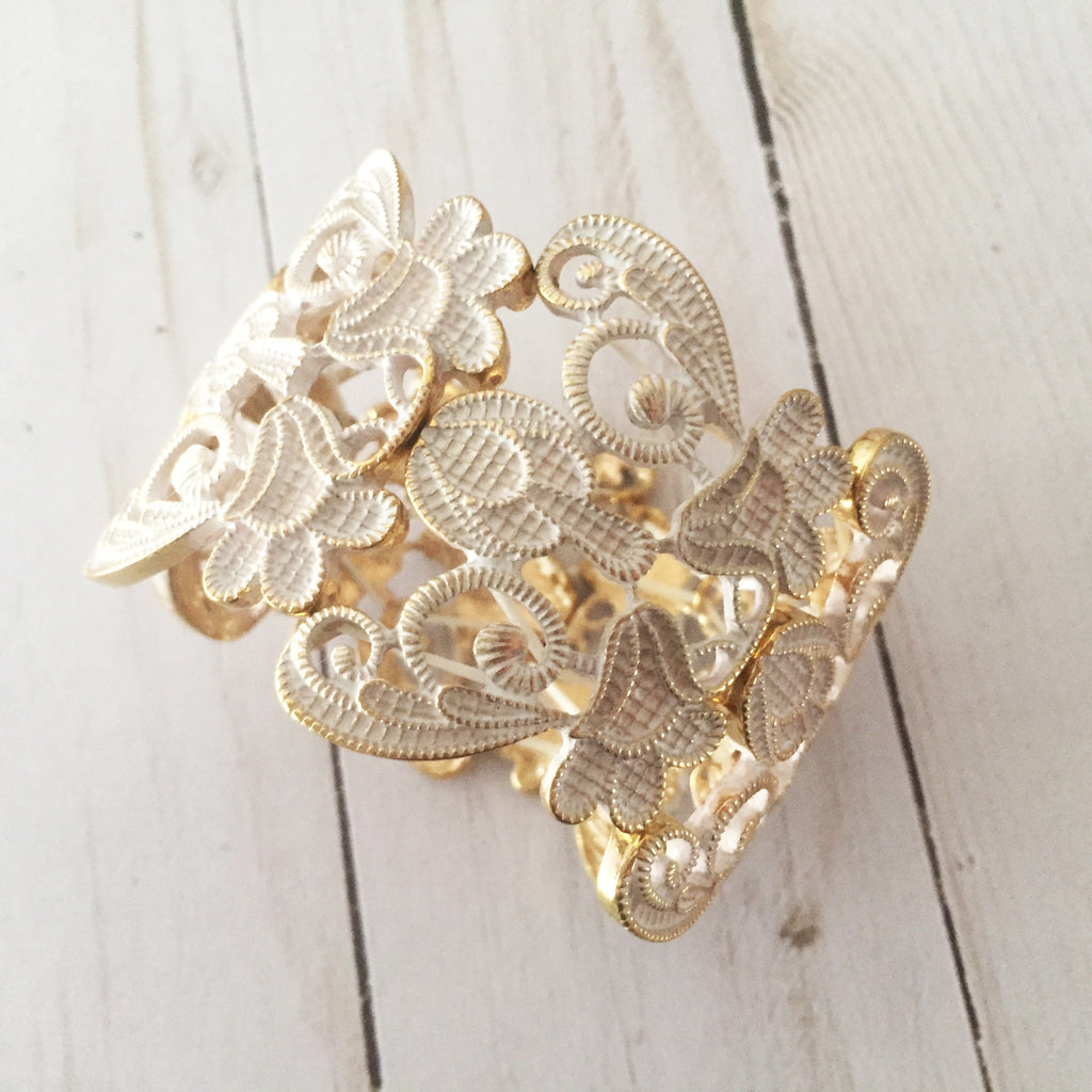 Lace Filigree Bracelet ~ White and Gold
