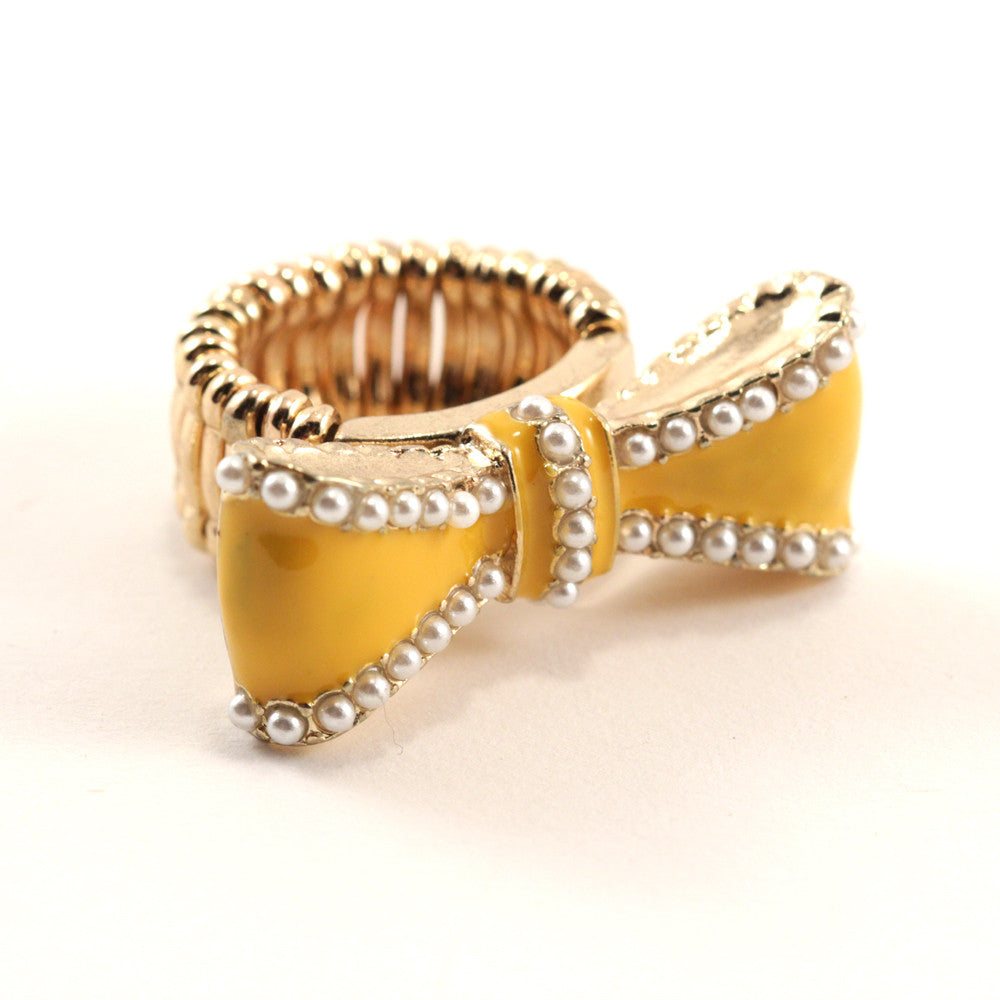 Bow Ring ~ Yellow, Gold and Pearl