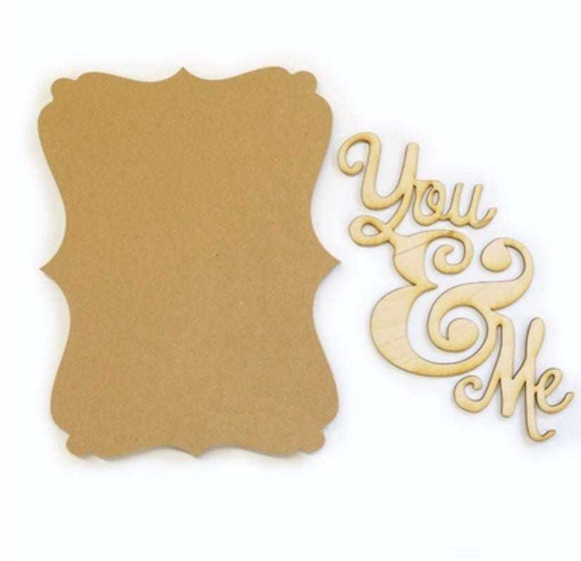 You and Me Wood Plaque Kit for Painting Decoupage