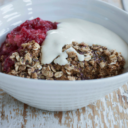 Paul Hollywood's red berry crumble with Shony seaweed and cream