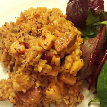 Chorizo and Sweet Potato Risotto with Dulse