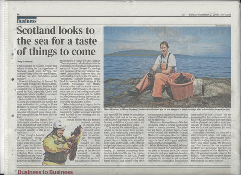 Mara Seaweed full article in The Times Sept 2016