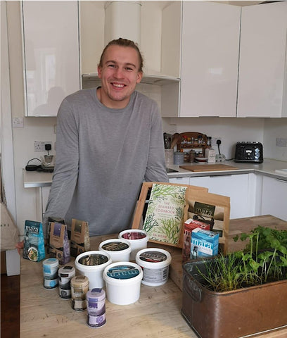 Jamie MacLean at home with Mara Seaweed