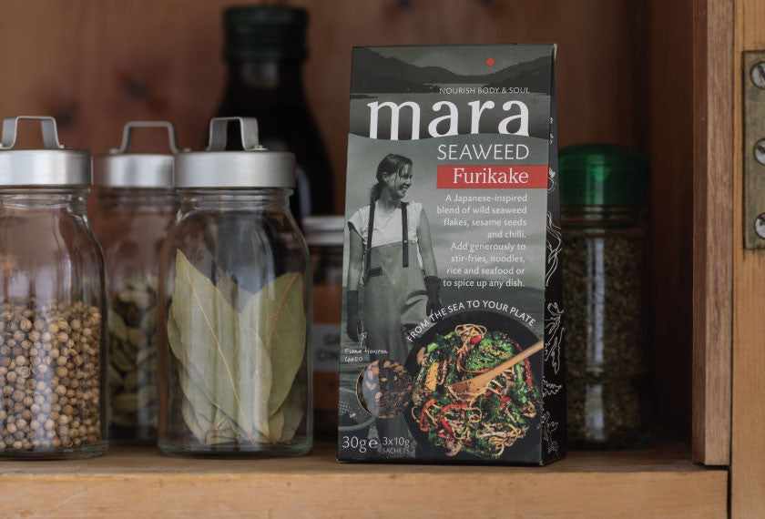 Furikake pouch on kitchen shelf