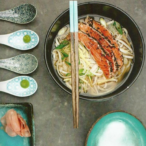 salmon ramen with mara seaweed dulse flakes