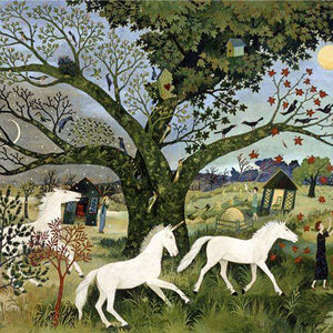 a painting of two unicorns and the tree of life