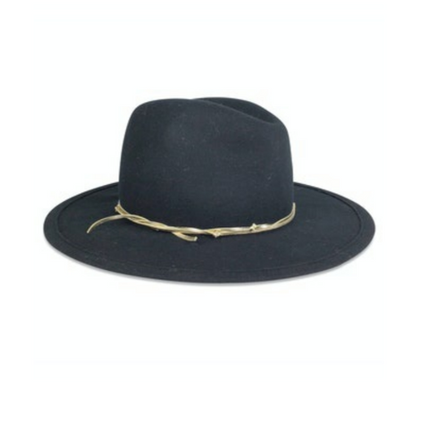 Hat Attack Chelsea Hat - Black with Gold Trim