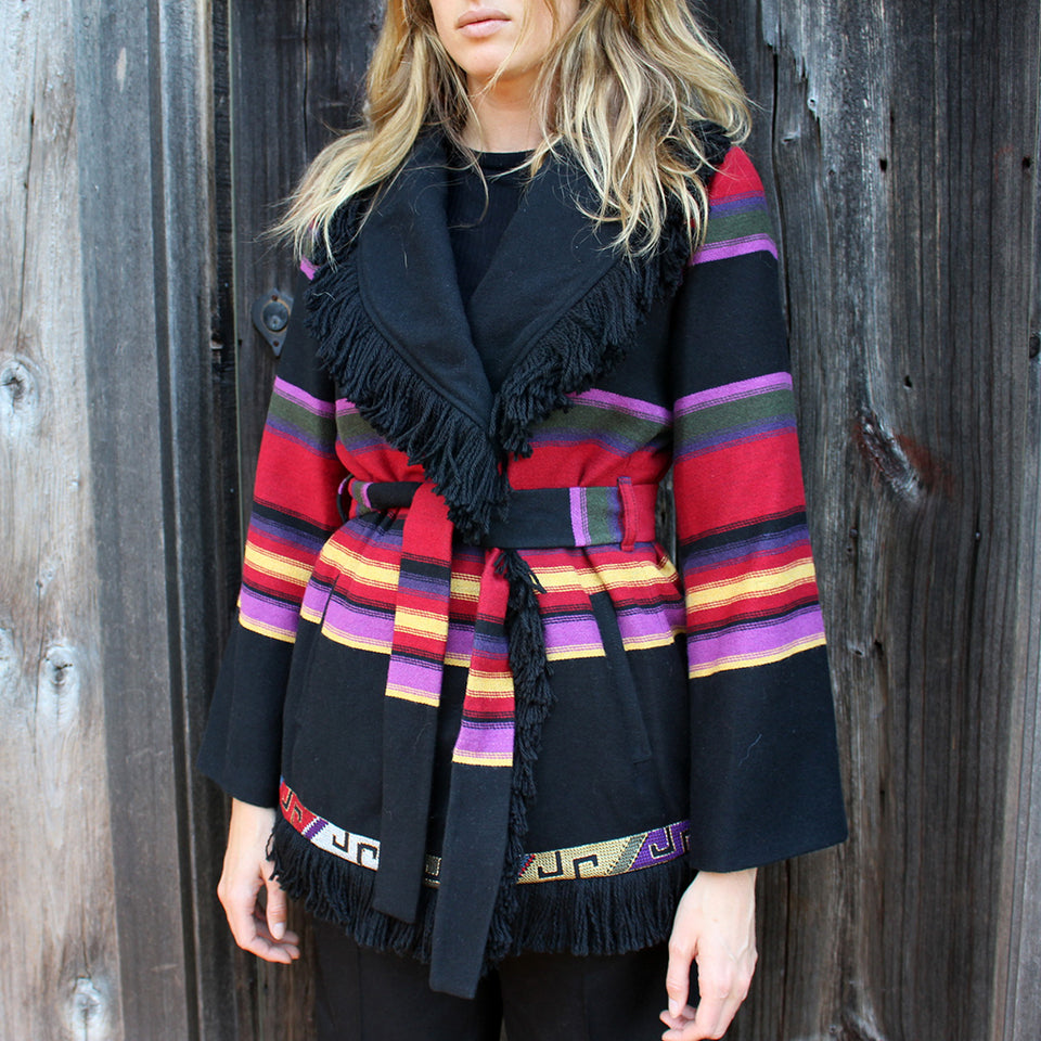 Bazar Deluxe Striped Fringe Coat