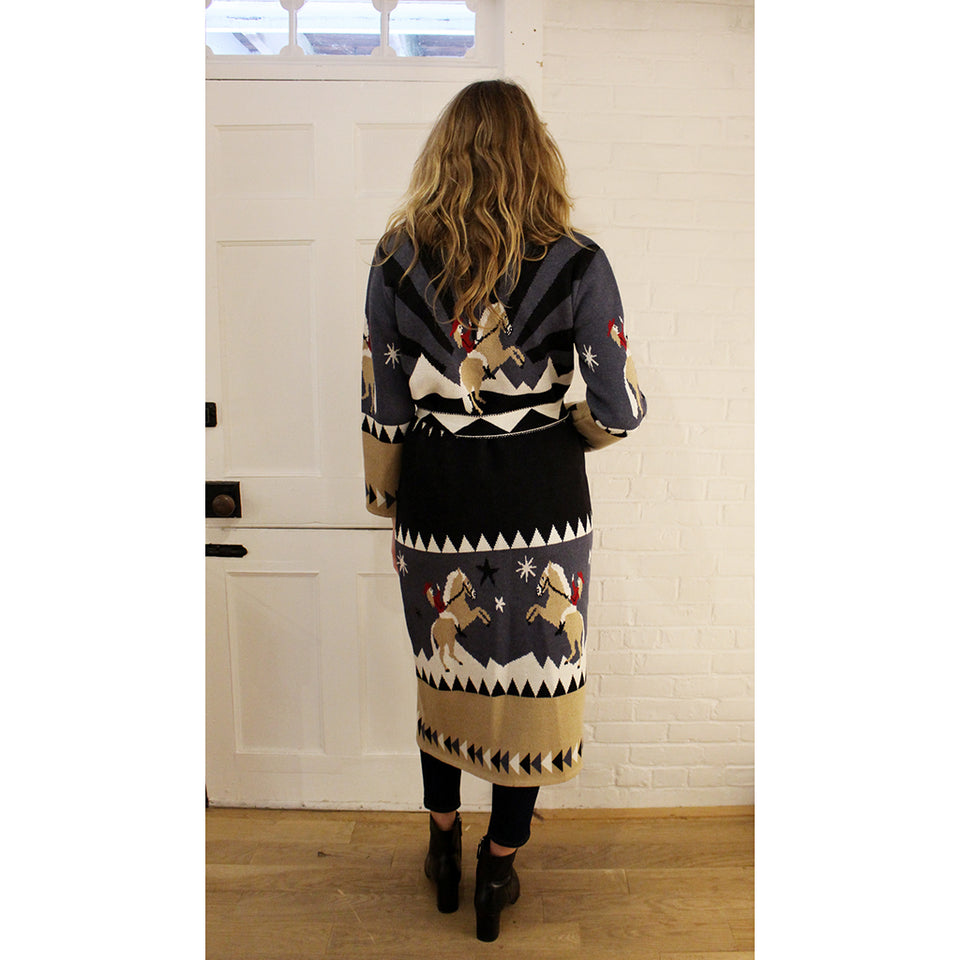 Hayley Menzies Sunrise Rodeo Long Cardigan - Denim/Black