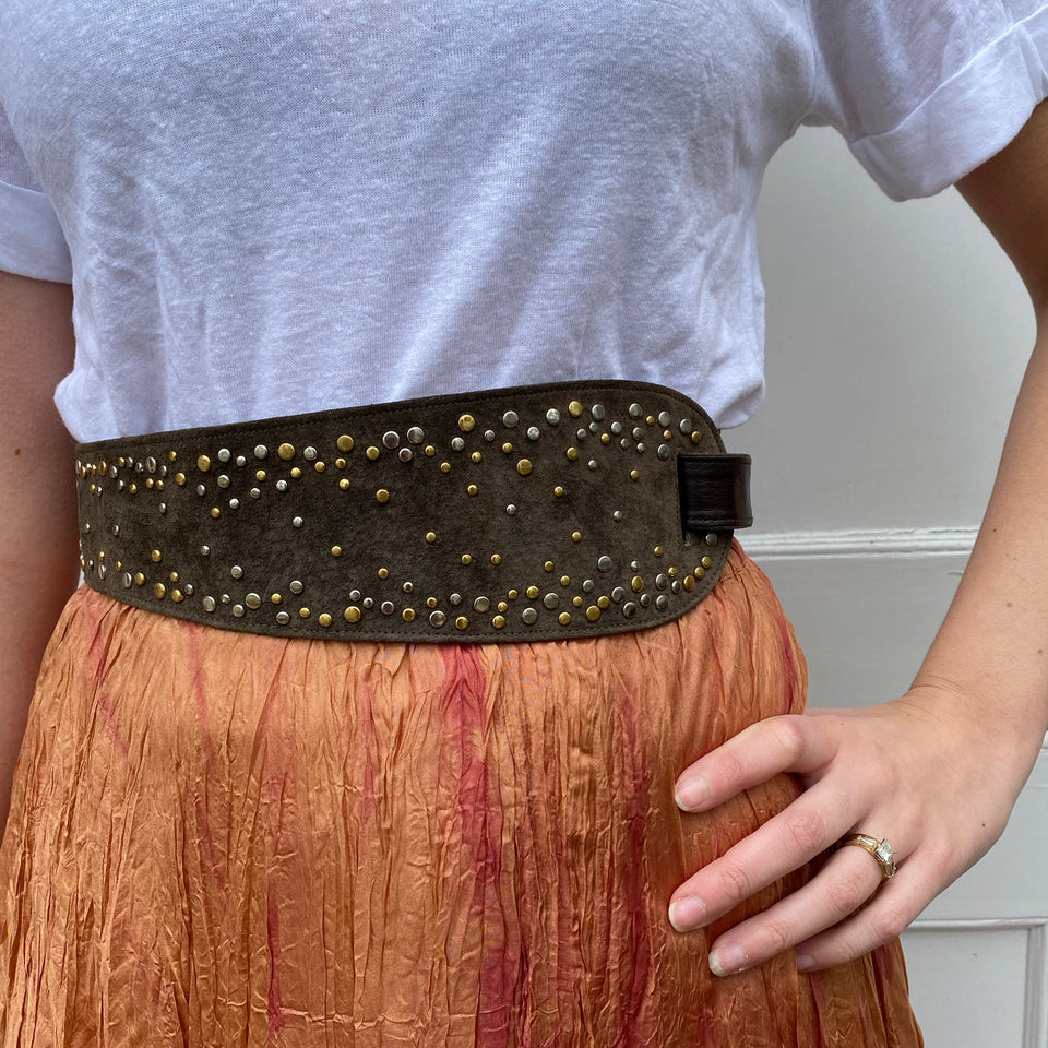 Vintage Brown Suede Studded Belt