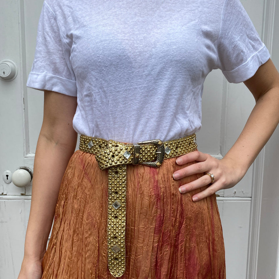 Vintage 80's Sandcastle's Gold Leather Studded Belt