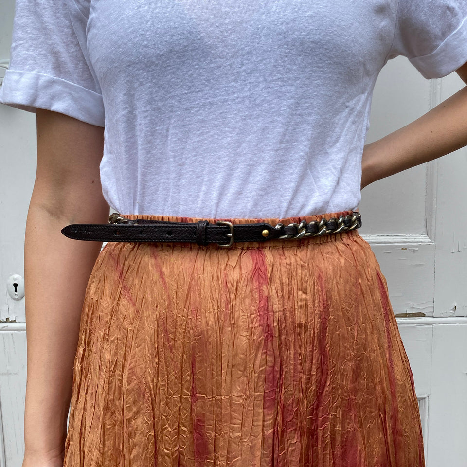 Vintage Miu Miu Leather and Chain Belt