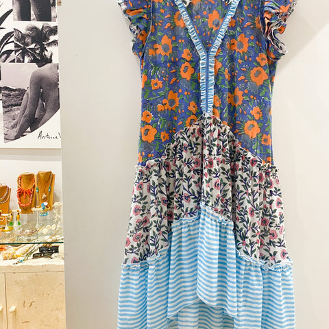 Joey Wolffer Reworked Dress - Blue / Orange Poppy Flower